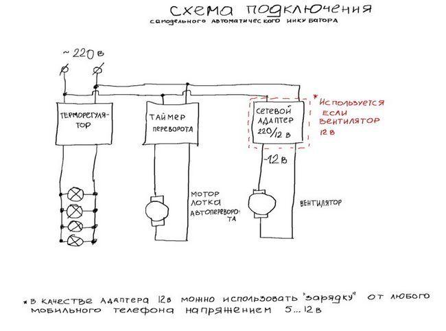 Схема підключення інкубатора з холодильника