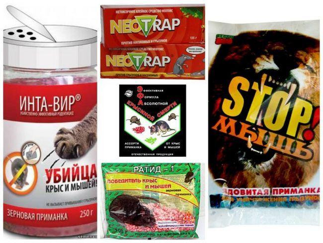 Різні отрутохімікати проти гризунів