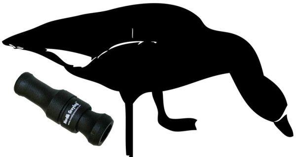 Намальований чорний гусак і манок