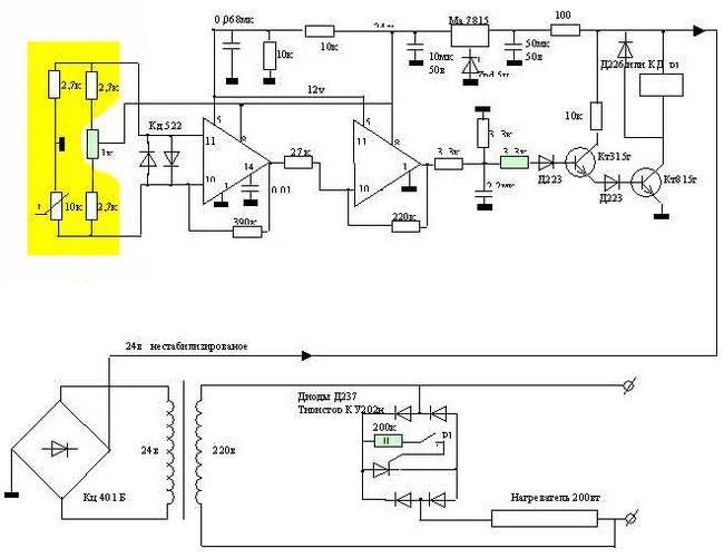 Електросхема інкубатора з холодильника